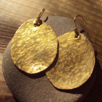 Hammered Brass Oval Earrings