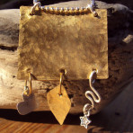 Hammered Brass Square Pendant with Sterling and Brass Charms on Silver Plated Chain