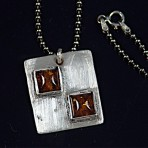 Brushed Silver Square and Amber