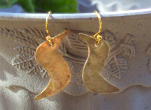 Hammered Brass Bird  Earrings