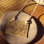 Hammered Brass Square Pendant on Silver Plated Chain