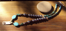 Upcycled Sterling Pendant on Mixed Beaded Strand